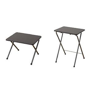 【セット買い】山善(YAMAZEN) 折りたたみテーブル ロータイプ + ハイタイプ ミドルブラウン