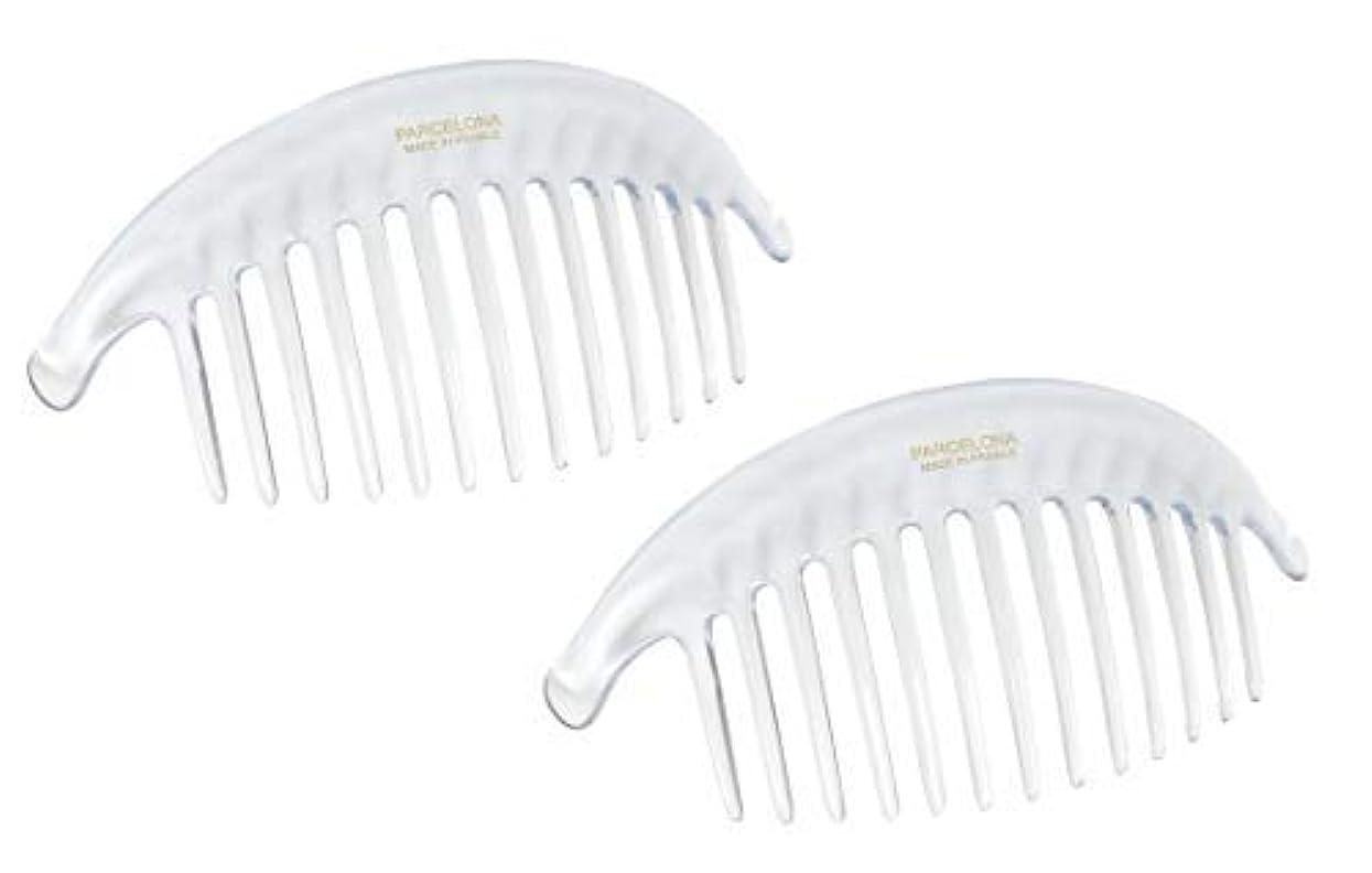 店主電話をかけるこするParcelona French Alice Large Set of 2 Clear 13 Teeth Celluloid Acetate Interlocking Side Hair Combs [並行輸入品]
