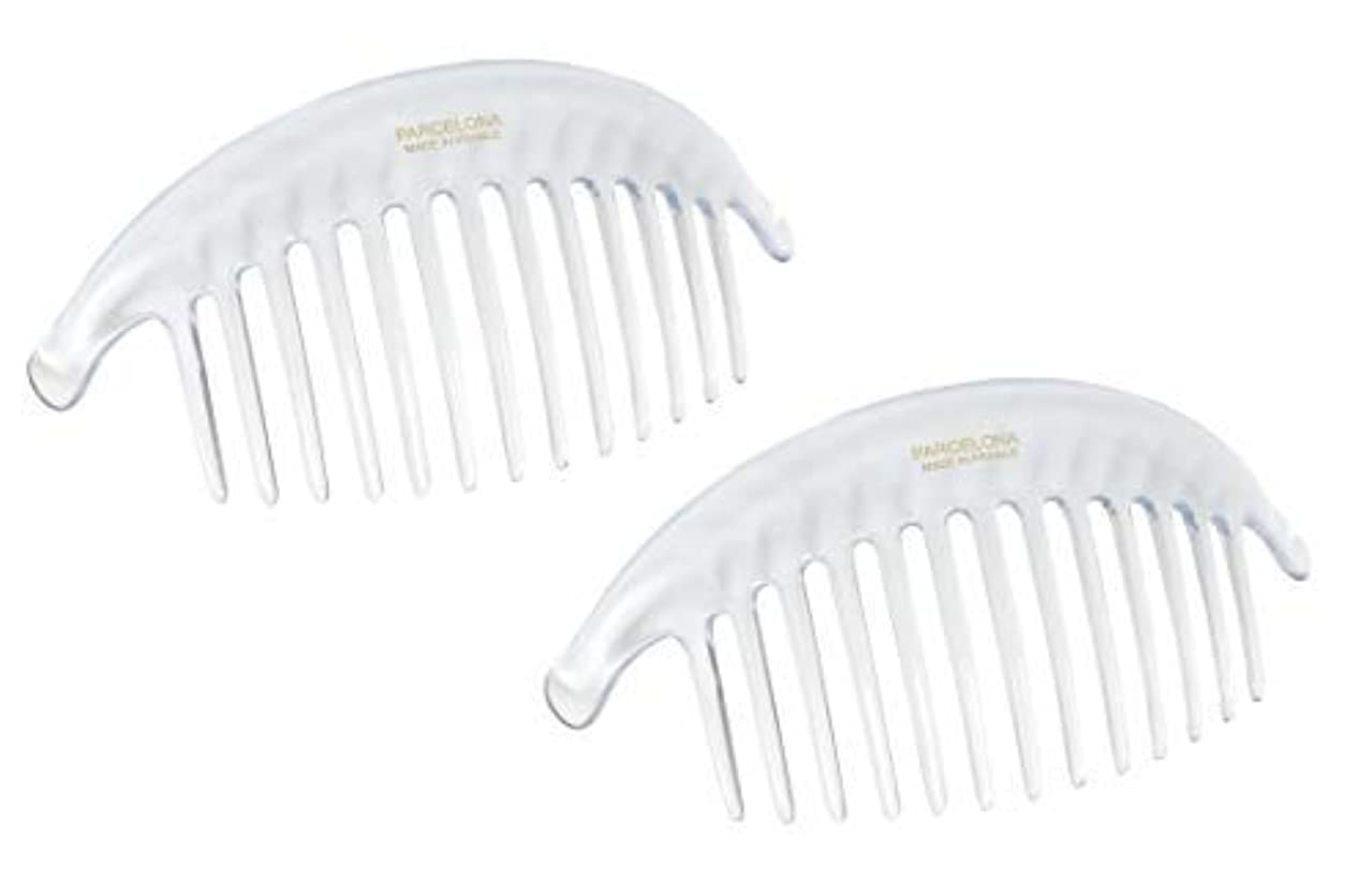受付クローゼットトロイの木馬Parcelona French Alice Large Set of 2 Clear 13 Teeth Celluloid Acetate Interlocking Side Hair Combs [並行輸入品]