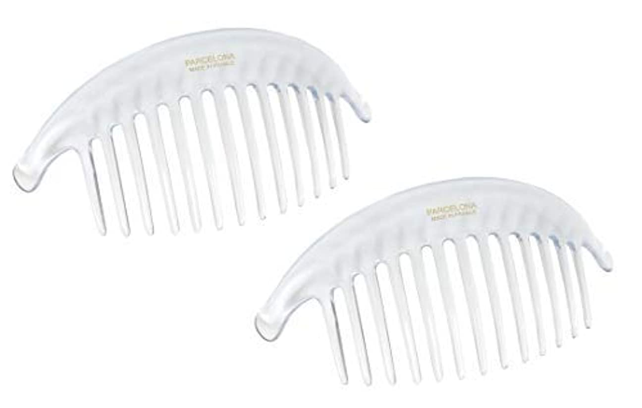 Parcelona French Alice Large Set of 2 Clear 13 Teeth Celluloid Acetate Interlocking Side Hair Combs [並行輸入品]