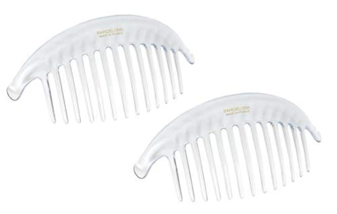 しおれた黒板勇気Parcelona French Alice Large Set of 2 Clear 13 Teeth Celluloid Acetate Interlocking Side Hair Combs [並行輸入品]