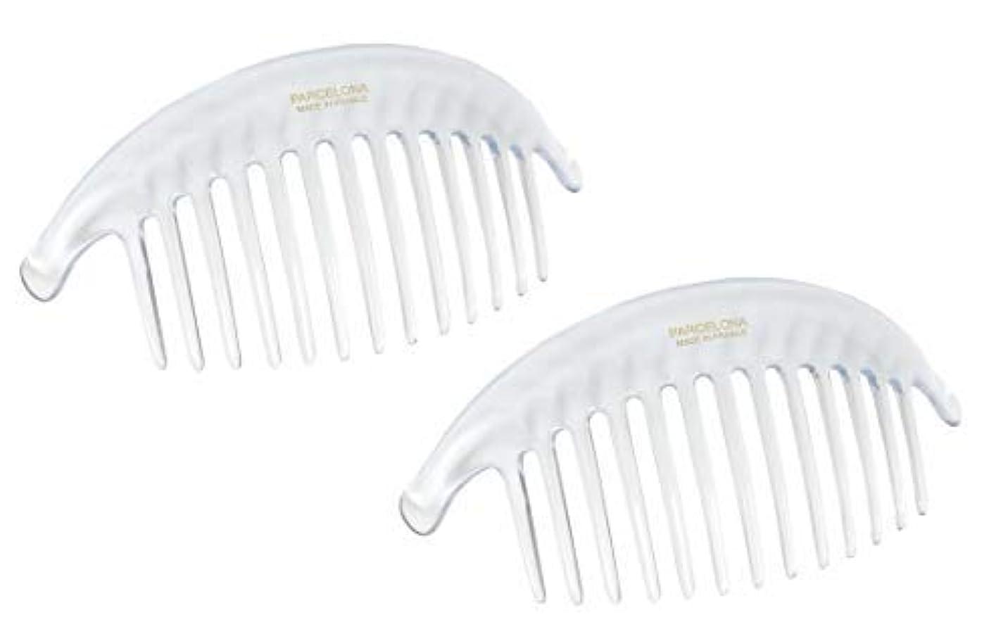 に対応する更新する十年Parcelona French Alice Large Set of 2 Clear 13 Teeth Celluloid Acetate Interlocking Side Hair Combs [並行輸入品]