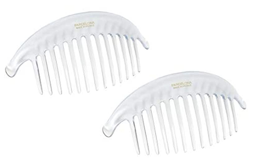 散る感嘆符地理Parcelona French Alice Large Set of 2 Clear 13 Teeth Celluloid Acetate Interlocking Side Hair Combs [並行輸入品]