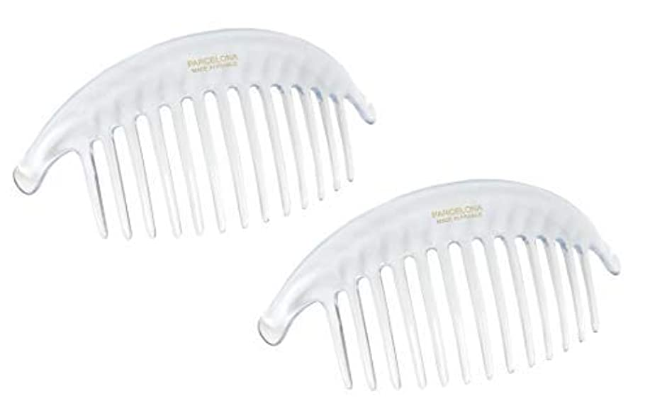 テメリティ残る無意味Parcelona French Alice Large Set of 2 Clear 13 Teeth Celluloid Acetate Interlocking Side Hair Combs [並行輸入品]