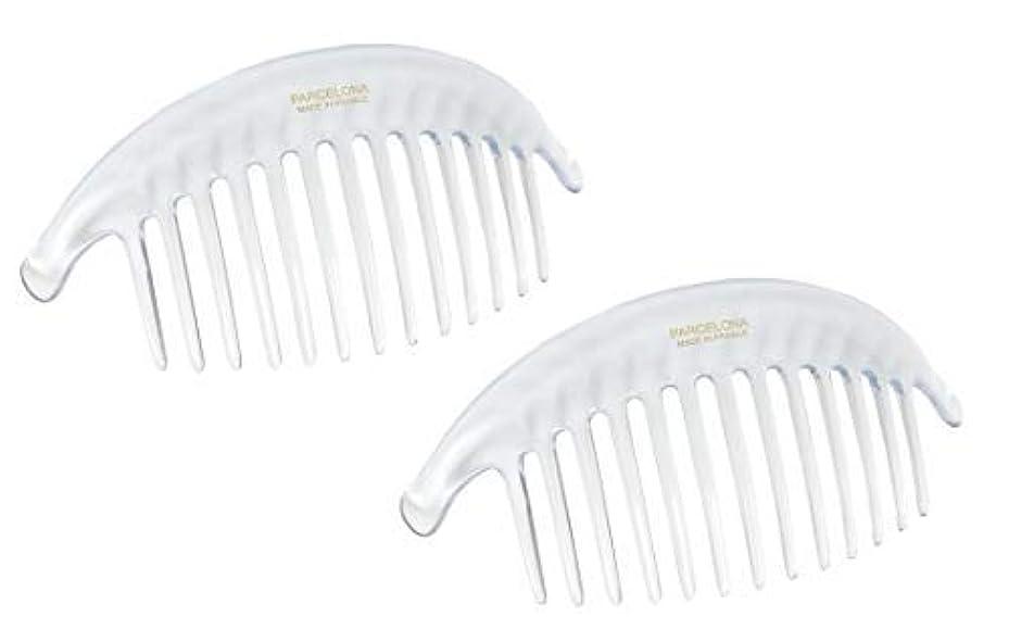 シート公平チャームParcelona French Alice Large Set of 2 Clear 13 Teeth Celluloid Acetate Interlocking Side Hair Combs [並行輸入品]