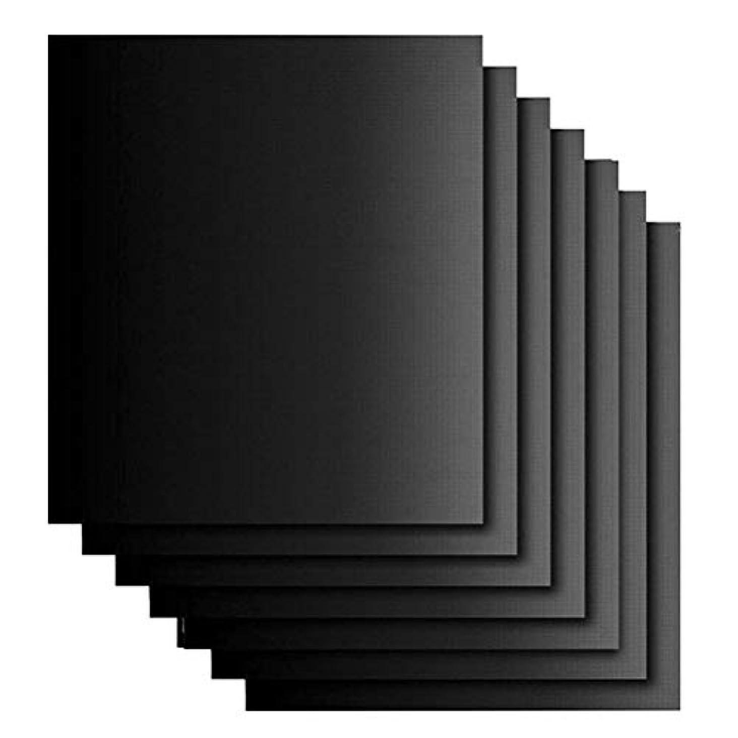 騒乱学校教育ありそうOUNONA 7枚セット BBQグリルマット バーベキュー BBQグリルシート耐熱 繰り返し使え bbq網 鉄板用 電子レンジを対応 クッキングツール クッキング用品(黒)