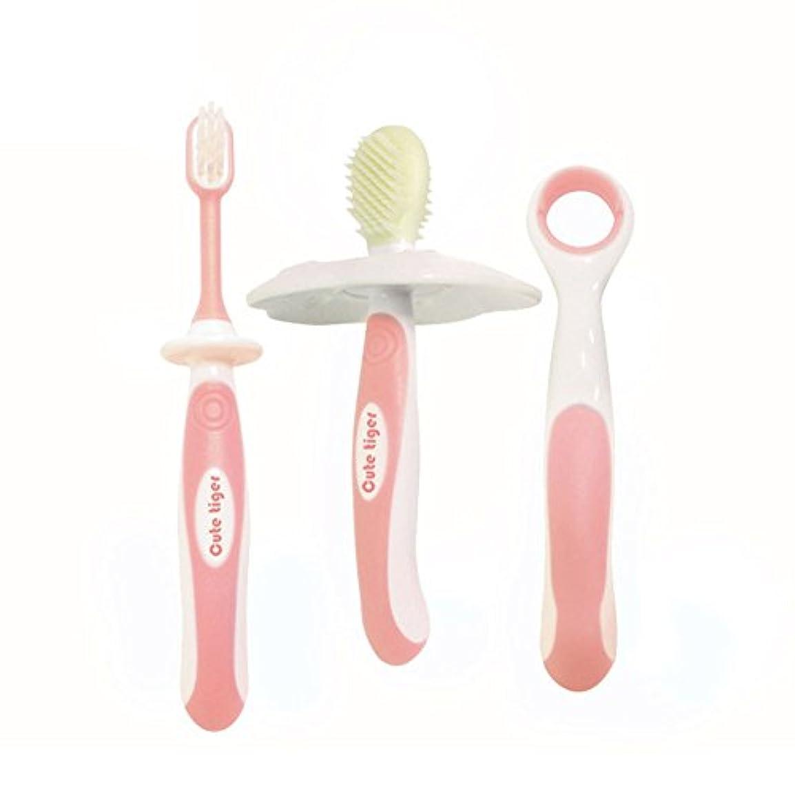 漂流ミッション衝動Liebeye 歯ブラシ 赤ちゃん シリコーン キッズ 舌クリーニング 歯科ケアトレーニング 歯がため 4本/セット ピンク