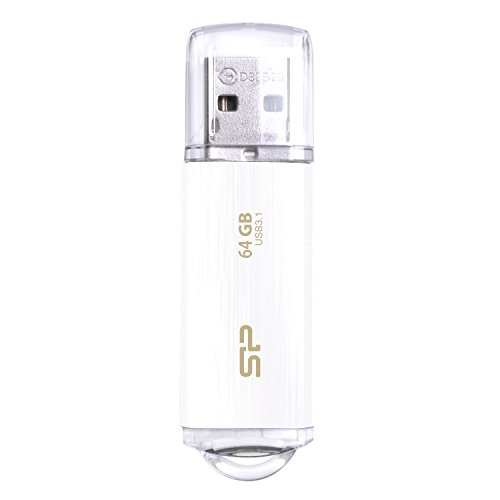 シリコンパワー USBメモリ 64GB USB3.1 & USB3.0 ヘアライン仕上げ 永久保証 Blaze B02 ホワイト SP064GBUF3B02V1WJB