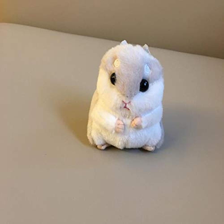 JEWH かわいいぬいぐるみ - 新しいキュートでソフトなフラシ天のハムスター人形 - ジュエリーバッグ キーペンダント 握る機械 ぬいぐるみ ハムスター人形 ( 10 cm ) (ライトグレー)