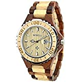 Bewell Wooden Watches withカレンダー防水クォーツ椅子ラウンドテーブルライト重量レトロファッショナブルSandalwood Watch for Men Woman
