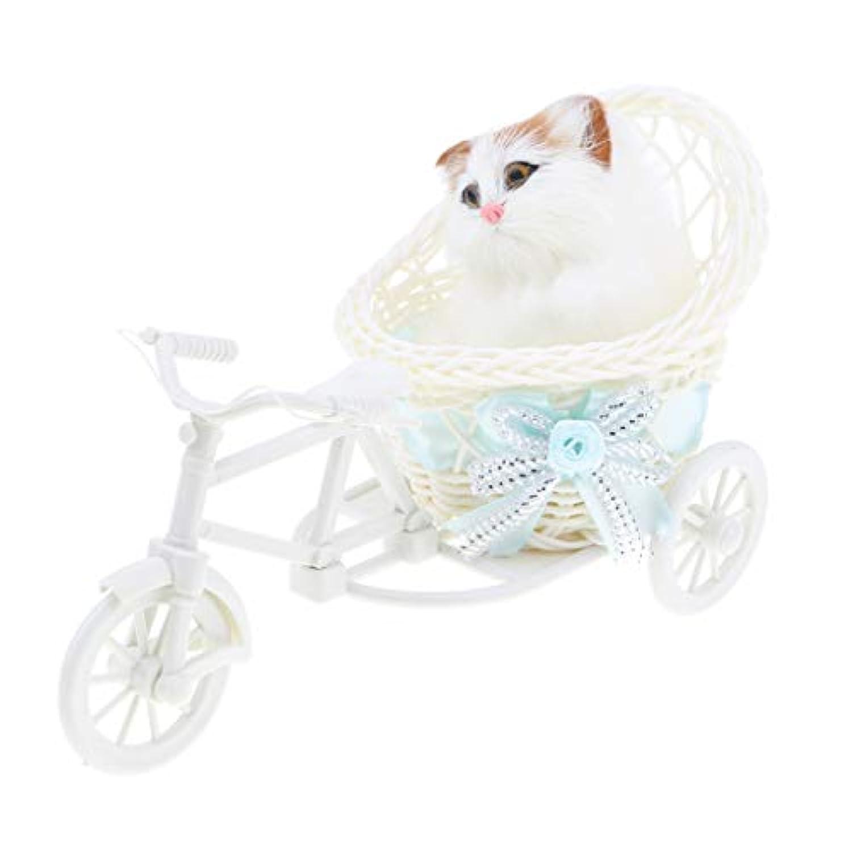 B Baosity 6色選ぶ 三輪車 動物モデル 模型 人形フィギュア 人工ファー製 - 猫