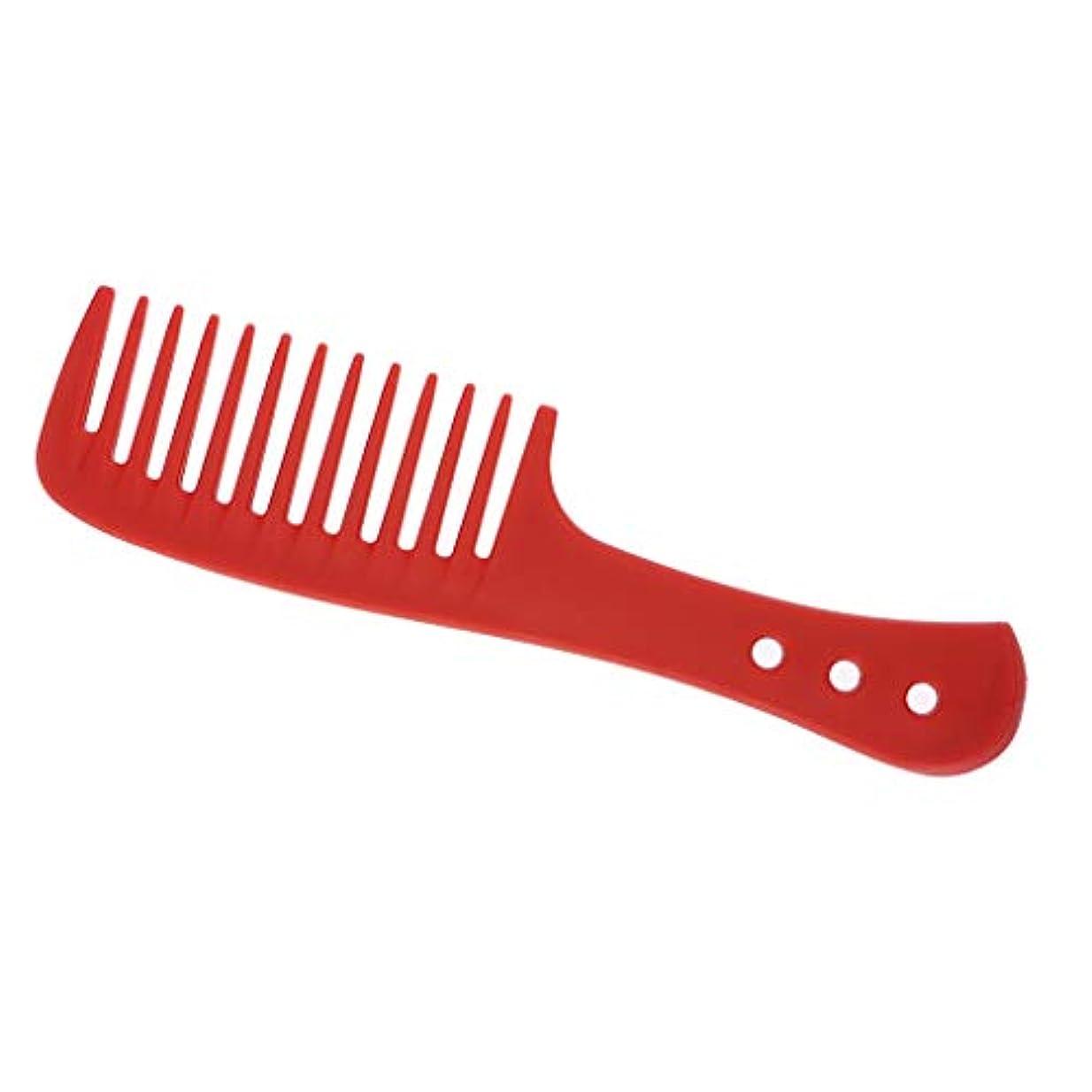 ロゴ表現実行櫛 ヘアブラシ ヘアコーム 広い歯 耐久性 耐熱性 帯電防止 4色選べ - 赤