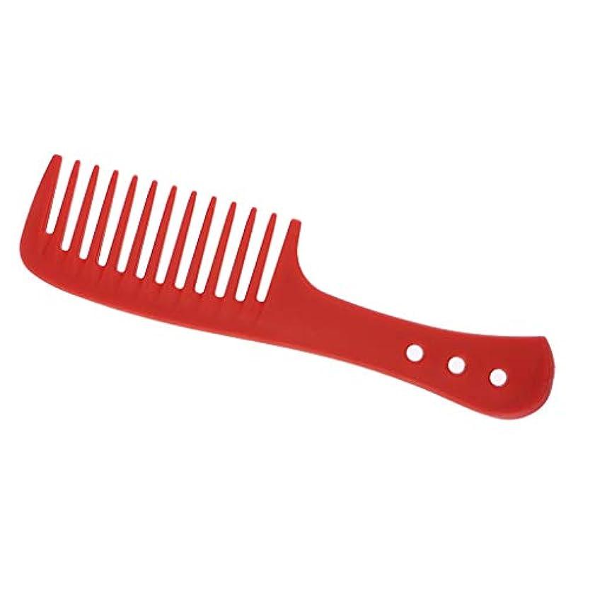 好意ウェイトレス低いPerfeclan 櫛 ヘアブラシ ヘアコーム 広い歯 耐久性 耐熱性 帯電防止 4色選べ - 赤