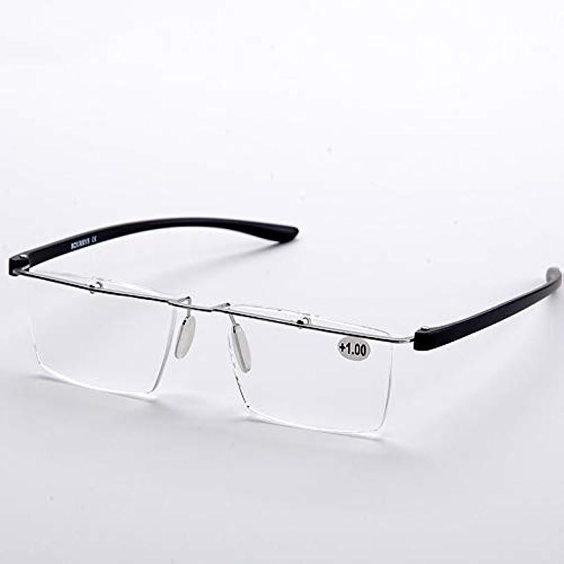 電球人類小説家抗疲労金属HD老眼鏡、超軽量の男性と女性のフレームレス老眼鏡、父の母親の最高の贈り物ZDDAB