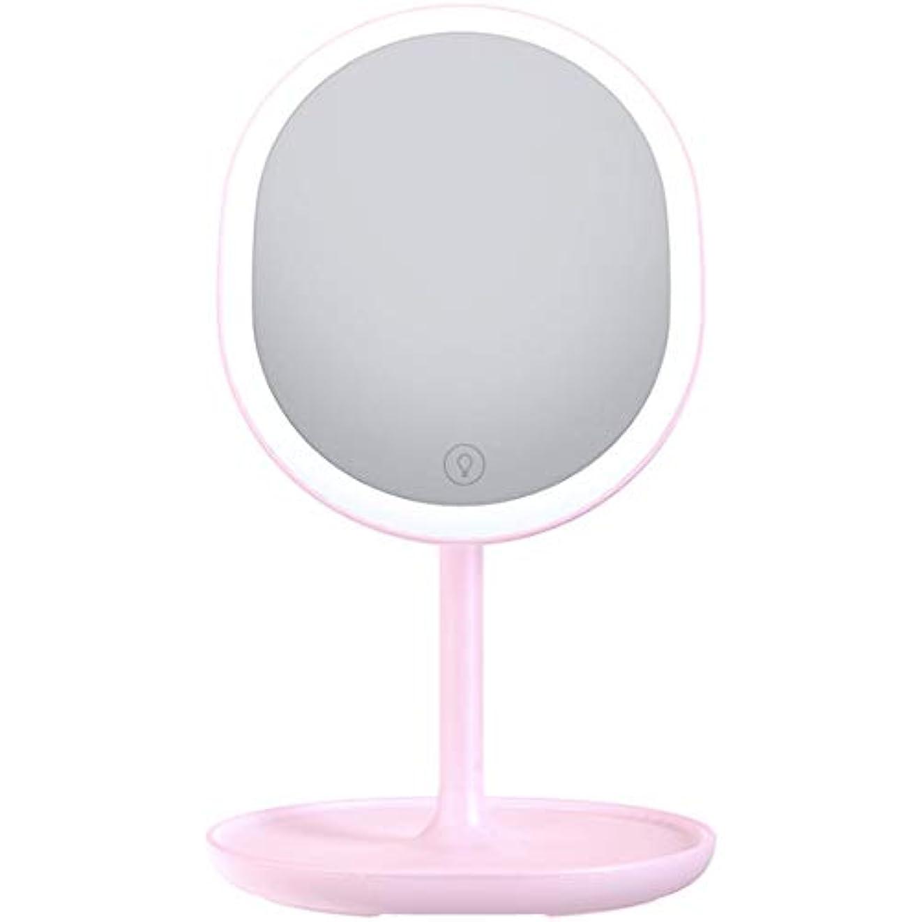 無条件石炭スリッパ化粧鏡 LED電式 卓上ミラー 鏡 化粧ミラー 女優ミラー 等倍鏡 メイクミラー 180°回転式 led付き 5倍拡大鏡付き 明るさ調節可能 (ピンク)