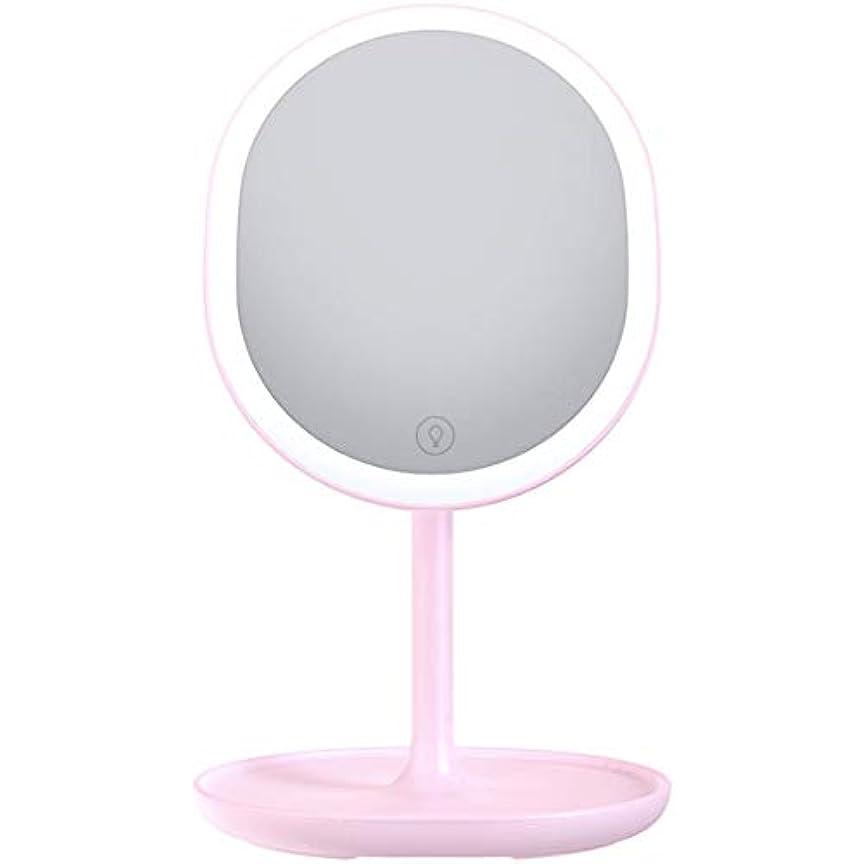 委託かもしれないターゲット化粧鏡 LED電式 卓上ミラー 鏡 化粧ミラー 女優ミラー 等倍鏡 メイクミラー 180°回転式 led付き 5倍拡大鏡付き 明るさ調節可能 (ピンク)