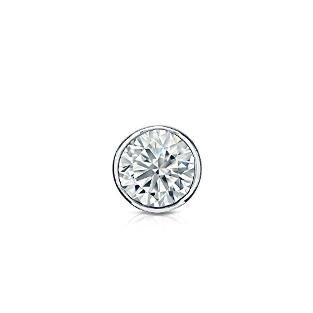 悪意のある刈る懐疑的14 Kゴールドbezel-setラウンドダイヤモンドシングルスタッドイヤリング( 1 / 8 – 1 CT、ホワイト、si2安全ロックバック