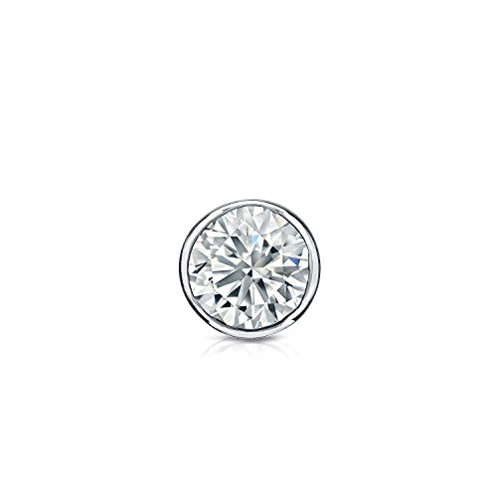 素子アプライアンス作曲家14 Kゴールドbezel-setラウンドダイヤモンドシングルスタッドイヤリング( 1 / 8 – 1 CT、ホワイト、si2安全ロックバック