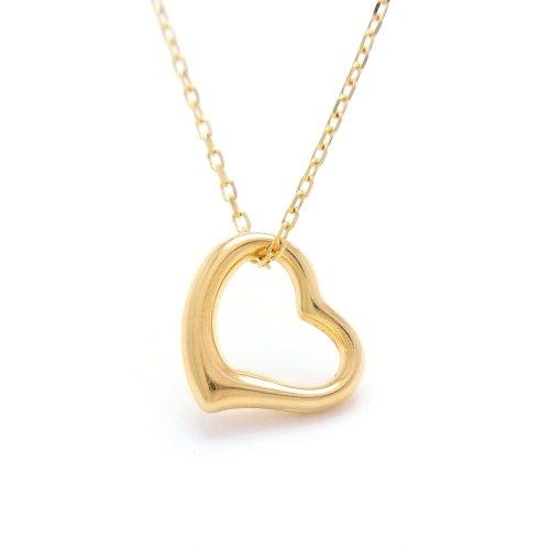 Open Heart 18金製 K18 gold ゴールド (日本製 Made in Japan) (金属アレルギー対応) オープンハート ペンダント ネックレス ジュエリー (Amazon.co.jp 限定) [HJ] (45 センチメートル)