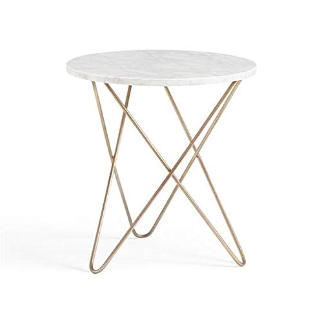 機会予報委任するQYSZYG 大理石のコーヒーテーブルシンプルでモダンなラウンドクリエイティブ錬鉄製のソファのコーヒーテーブルリビングルーム小さな丸テーブル 小さなコーヒーテーブル (サイズ さいず : 50*70cm)