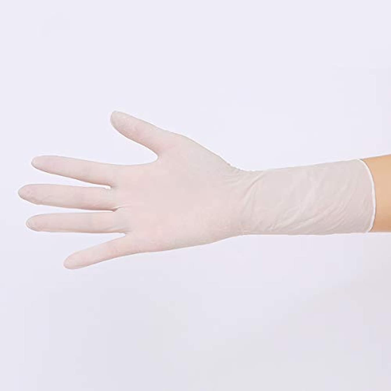 習熟度シネマコンソールニトリルグローブ 使い捨て手袋 グローブ パウダーフリー 作業 介護 調理 炊事 園芸 掃除用,Whitelength100,M