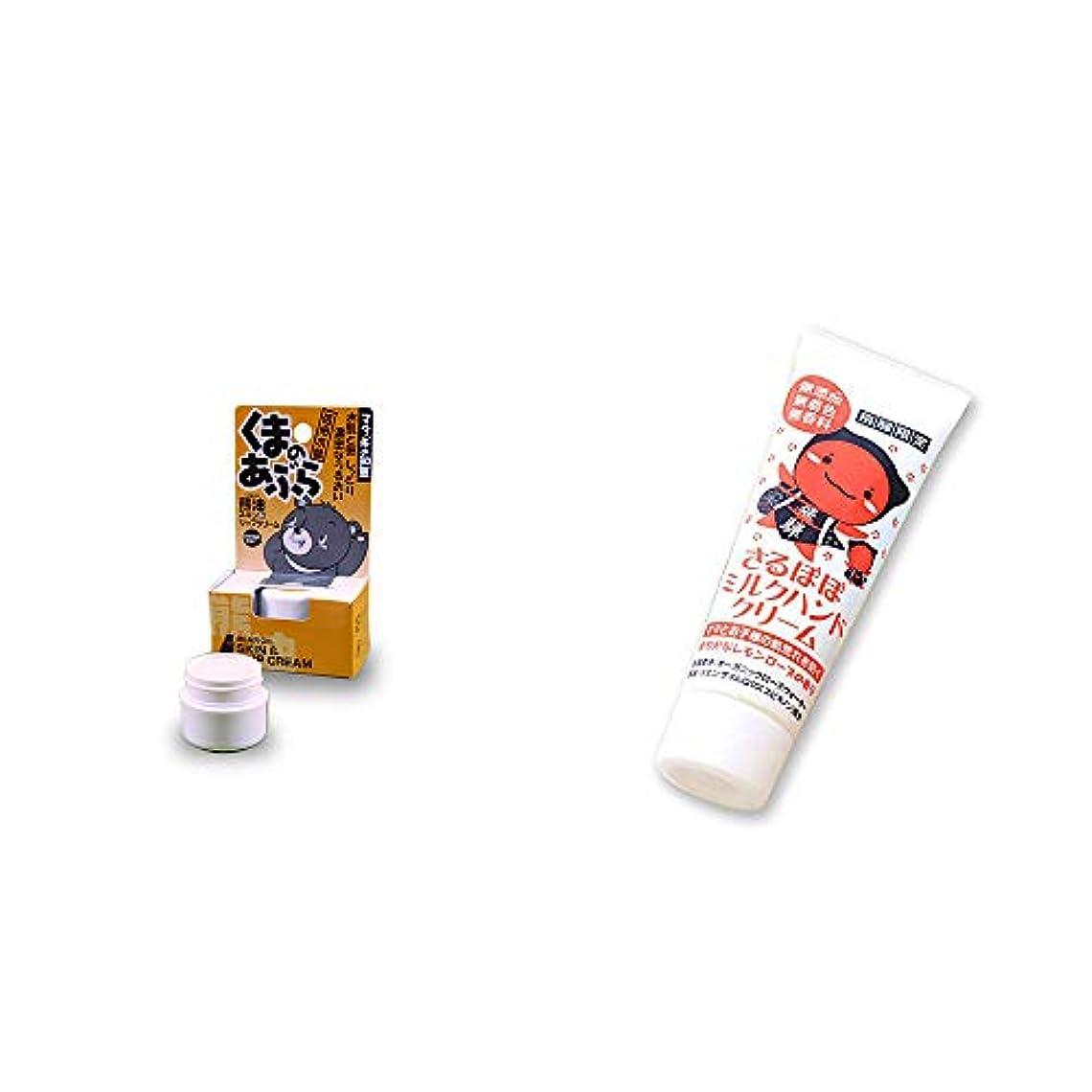 チャーミング駐地充電[2点セット] 信州木曽 くまのあぶら 熊油スキン&リップクリーム(9g)?さるぼぼ ミルクハンドクリーム(50g)