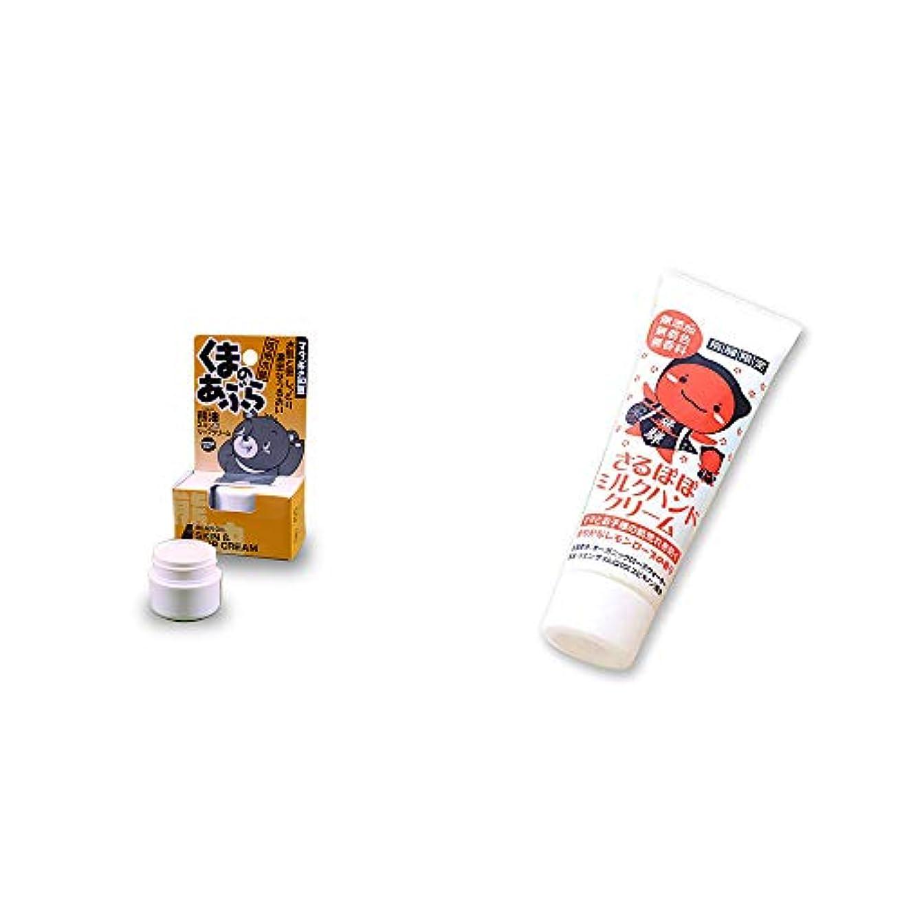 事故行き当たりばったり制約[2点セット] 信州木曽 くまのあぶら 熊油スキン&リップクリーム(9g)?さるぼぼ ミルクハンドクリーム(50g)