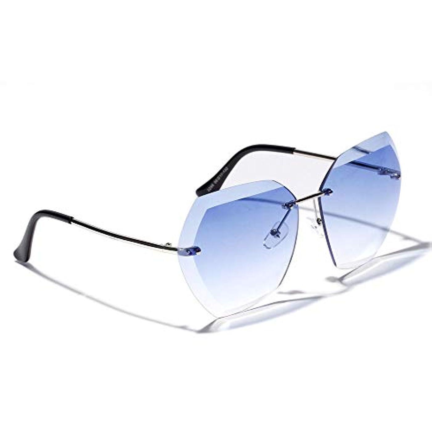 聖職者ピケ制約Annis6 フレームレス サングラス UV400 レンズ ユニセックス 用 輻射防止 (色 : 青)