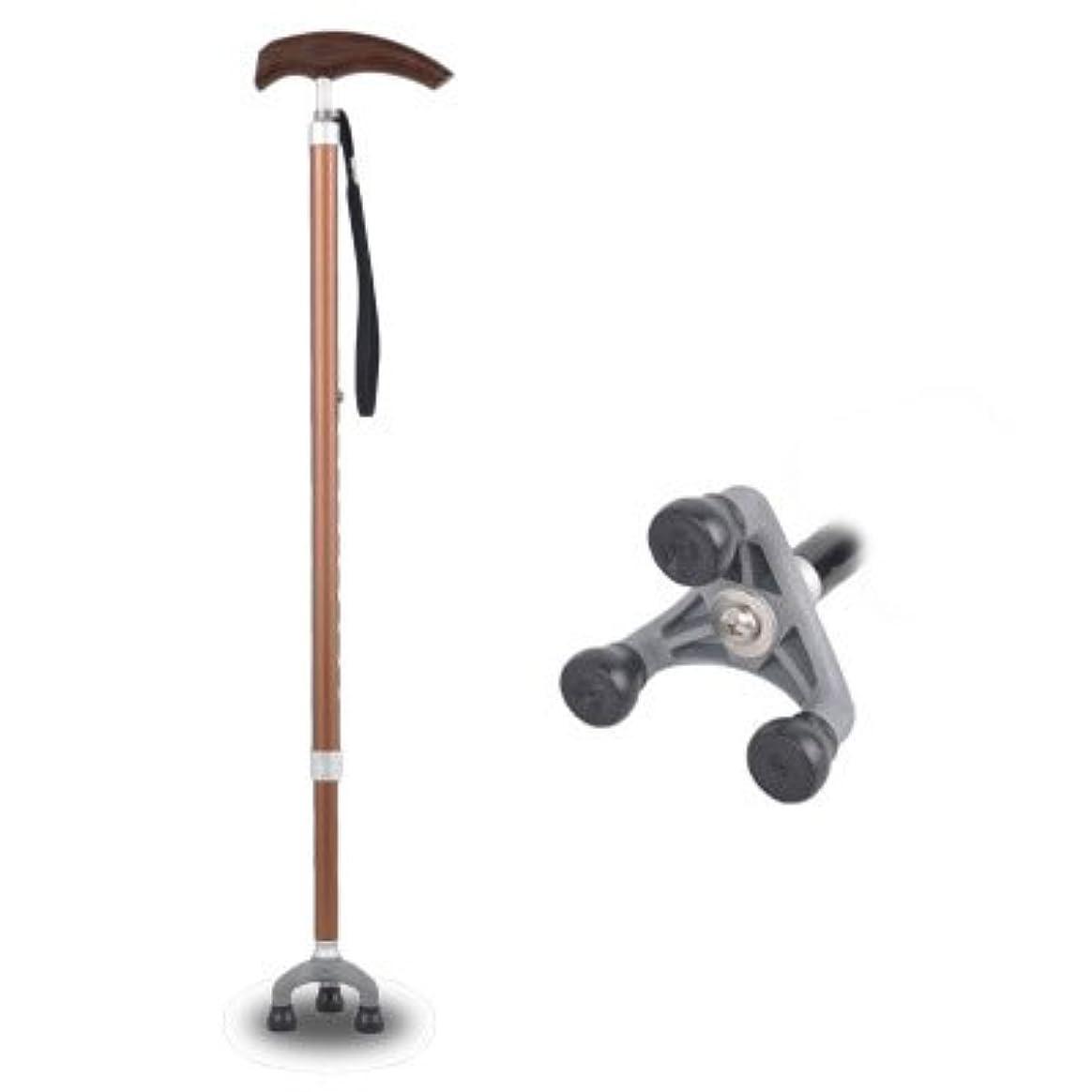 境界アレイ夜の動物園高齢者3脚360度回転可能な杖と歩行スティック用伸縮式歩行スティック高さ調節可能な屋外松葉杖滑り止めアルミ合金真鍮95-97.5Cm