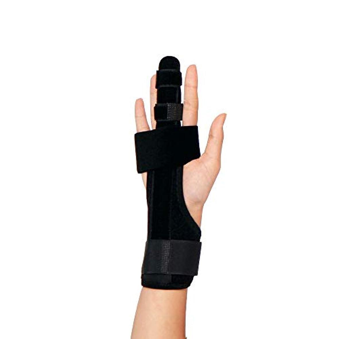 安全でないデュアル記述するトリガーフィンガースプリントフィンガーブレース、調節可能なプロテクター壊れた指用の快適なフィンガースプリント曲がったマレットまたは関節炎