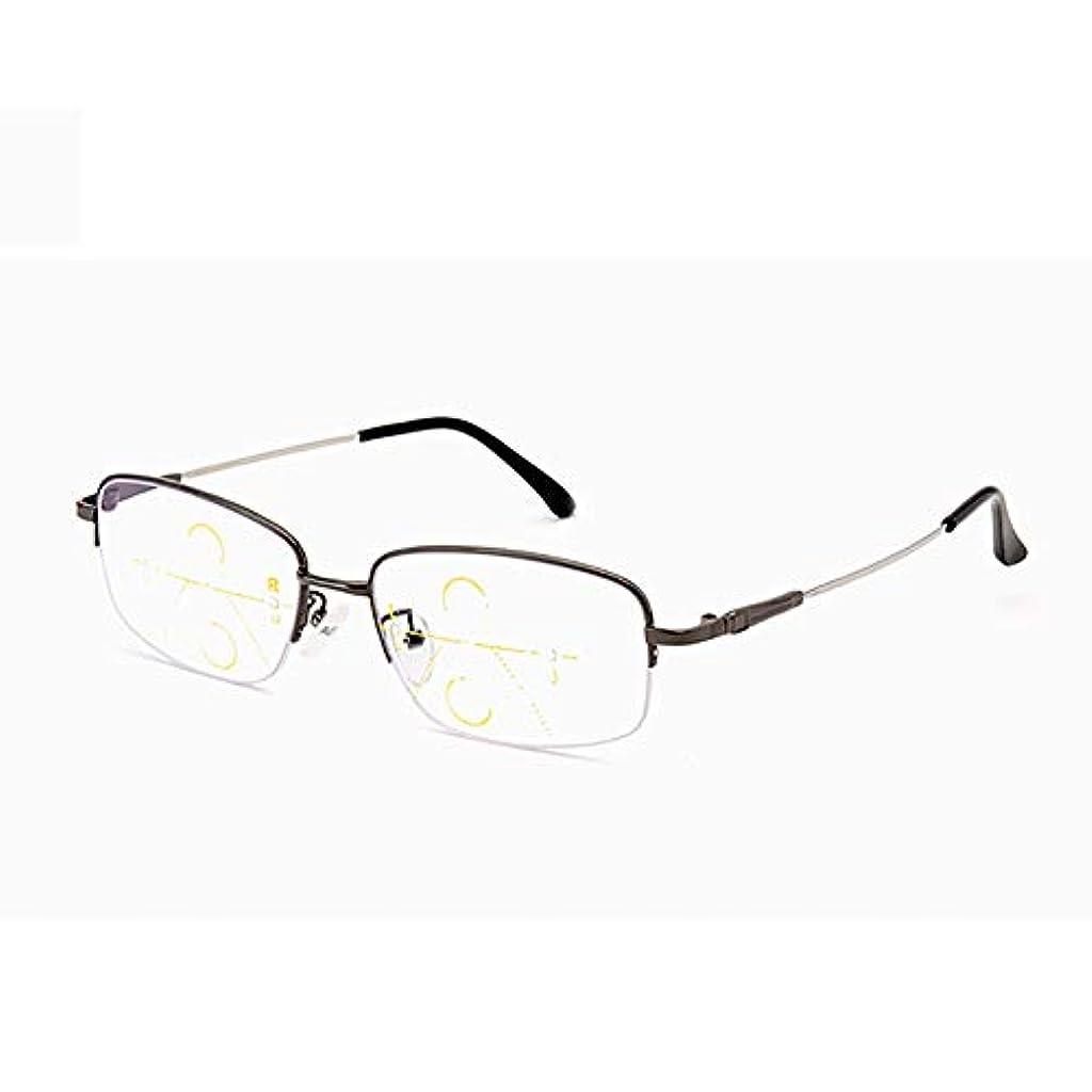 中央値深さ優先遠くと近くのファッションデュアルインテリジェントマルチフォーカス老眼鏡、プログレッシブアンチブルーライトアンチ疲労メガネ
