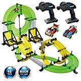 REMOKING Rail Race RC Track Car Toys 860cm Build Your Own 3D Super Track Ultimate Slot Car Playset 2 Cars 2 Remote Controller