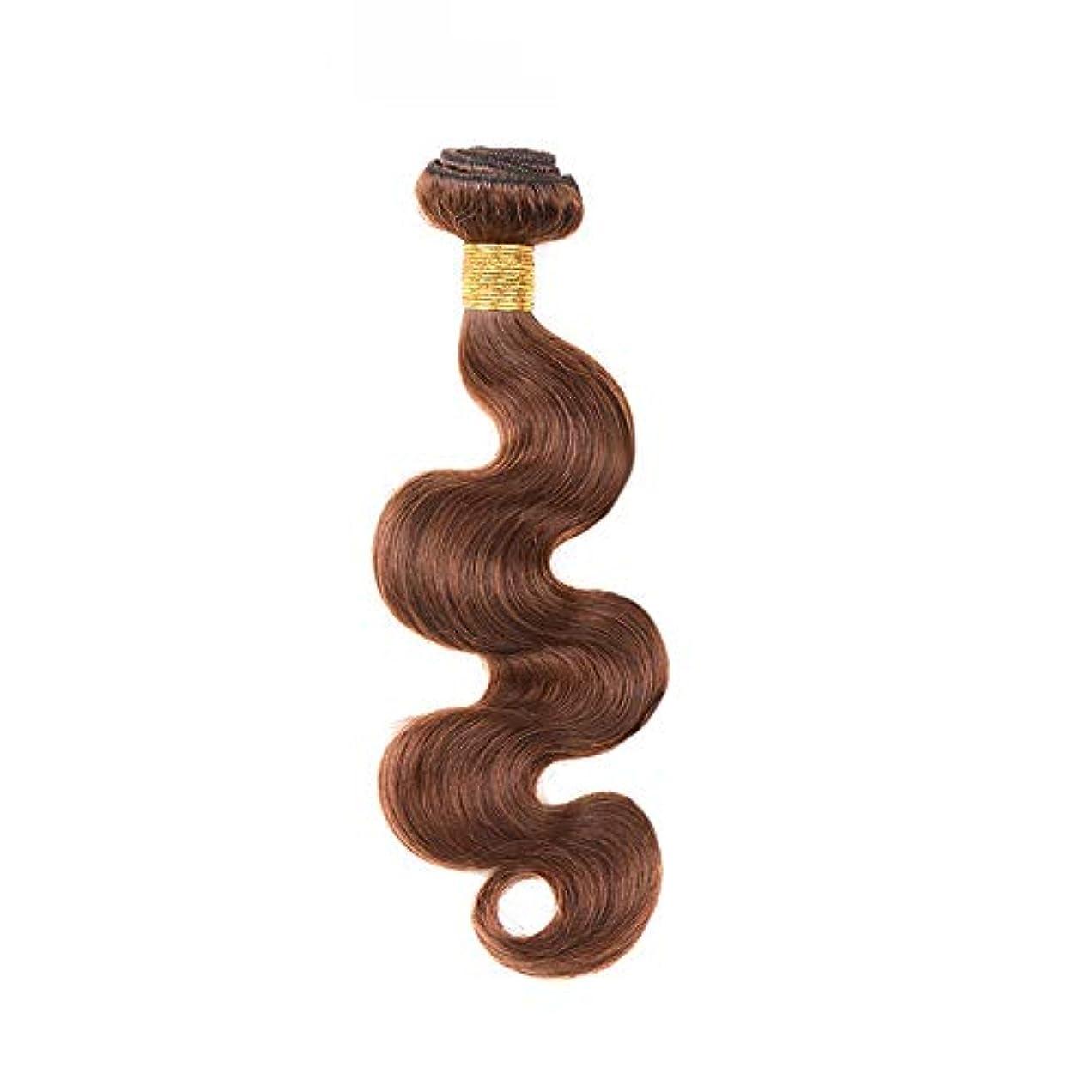 邪魔するバイオレット欠陥HOHYLLYA 茶色の人間の髪織りバンドルリアルレミーナチュラルヘアエクステンション横糸 - 実体波 - 4#ブラウン(1バンドル、10インチ-24インチ、100g)合成髪レースかつらロールプレイングウィッグロング&ショート...