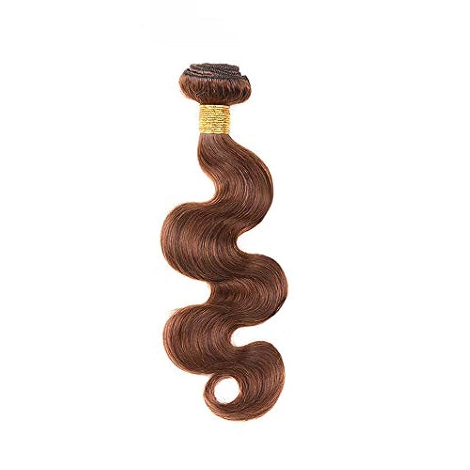 建設集中官僚HOHYLLYA 茶色の人間の髪織りバンドルリアルレミーナチュラルヘアエクステンション横糸 - 実体波 - 4#ブラウン(1バンドル、10インチ-24インチ、100g)合成髪レースかつらロールプレイングウィッグロング&ショート...