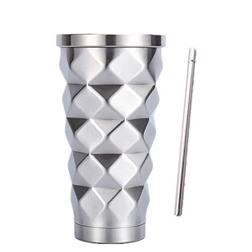 真空断熱 ストロー タンブラー ふた付き おしゃれ ステンレス 携帯 コーヒー カップ 500ml (シルバー1)
