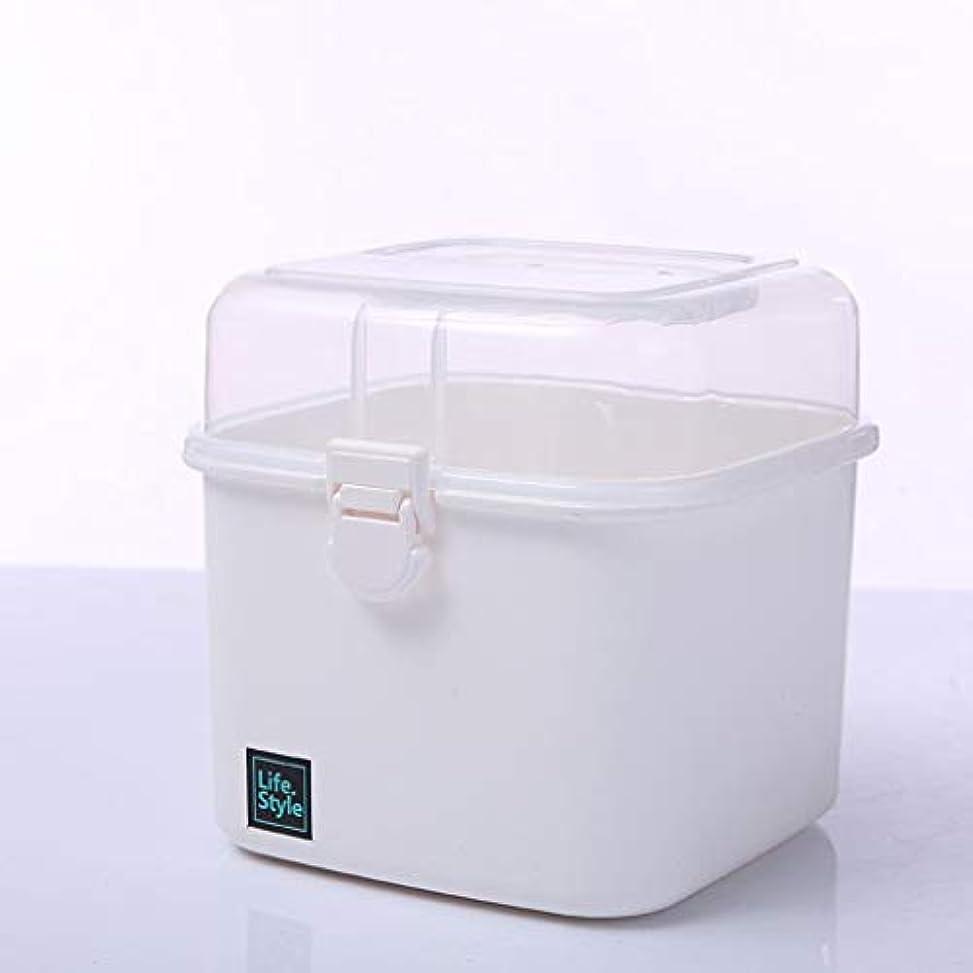 ドット大きさ珍しいプラスチック家庭用薬箱家族小さな薬箱収納ボックスポータブル学生救急キット薬箱医療箱小 LIUXIN (Color : White, Size : 14cm×14cm×16cm)