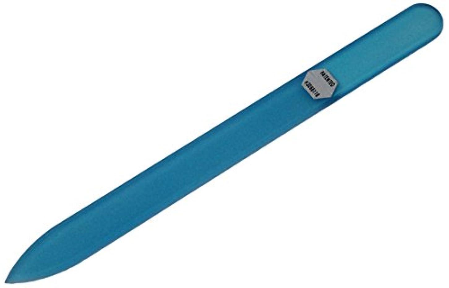 重量何浸すブラジェク ガラス爪やすり 140mm 片面タイプ オールカラー ブルー B-03