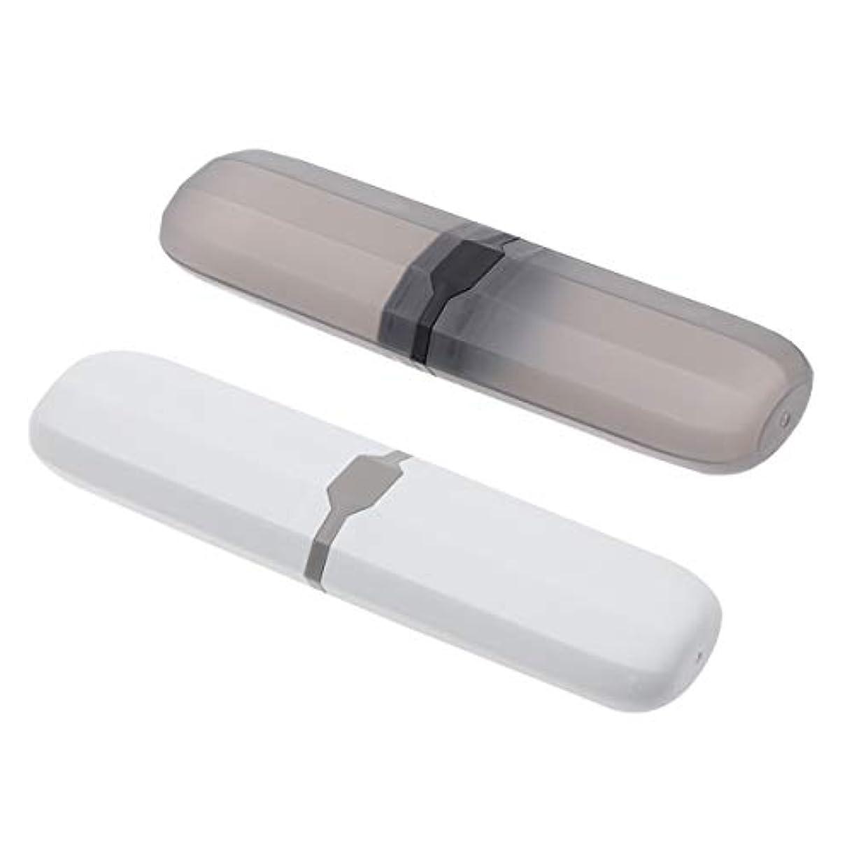 システム平らなあなたが良くなりますHEALLILY 歯ブラシケース2ピースポータブル環境にやさしい歯ブラシカバーcaesホルダーコンテナー屋外旅行用(北欧の青、黒)