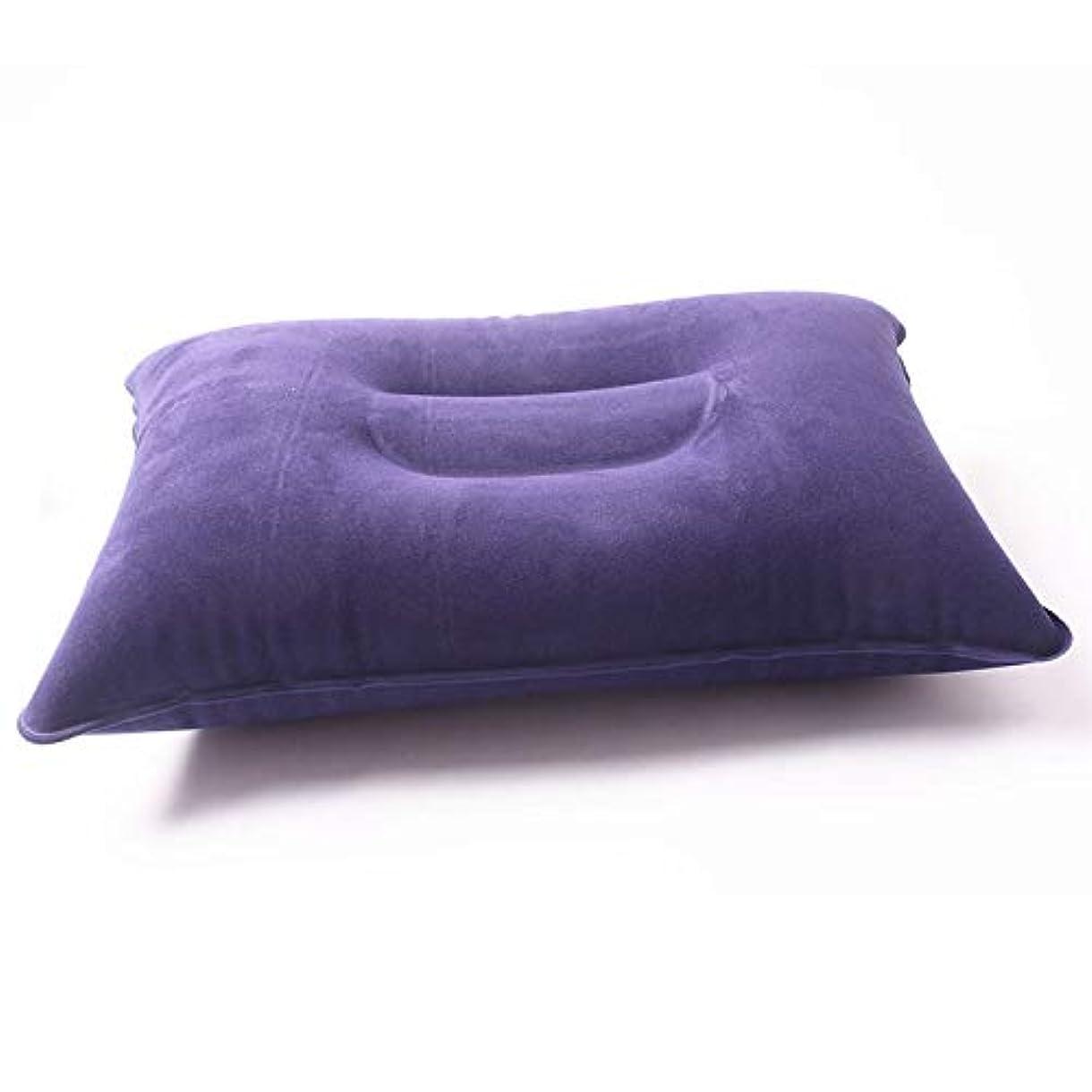 そよ風憎しみ呪いGaoominy 屋外の携帯用折る空気膨脹可能な枕 両面フロッキングクッション トラベルプレーンホテルホットワールドワイド ダークブルー