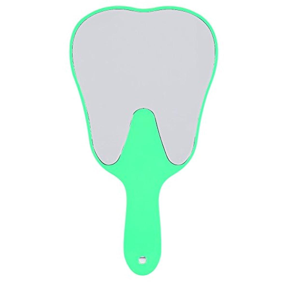 スキッパーマインドフルマイクおしゃれな便利なかわいいプラスチックハンドル歯歯科ケアハンドミラーツール(グリーン)