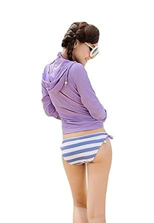 D'Kotte 2016 トレンド レディース 長袖 ラッシュパーカー ラッシュガード UVカット 日焼け止め 水着 マリンスポーツ 6色展開 カラー選択 丈の長さ選択 サイズ選択 オリジナルセット商品付属致します。 (M, パープル(ショート丈))