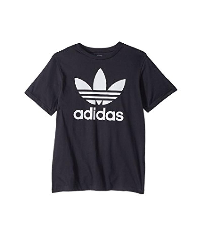 (アディダス) adidas キッズTシャツ Trefoil Tee (Little Kids/Big Kids) Black/White 1 LG (14 Big Kids) (L) One Size