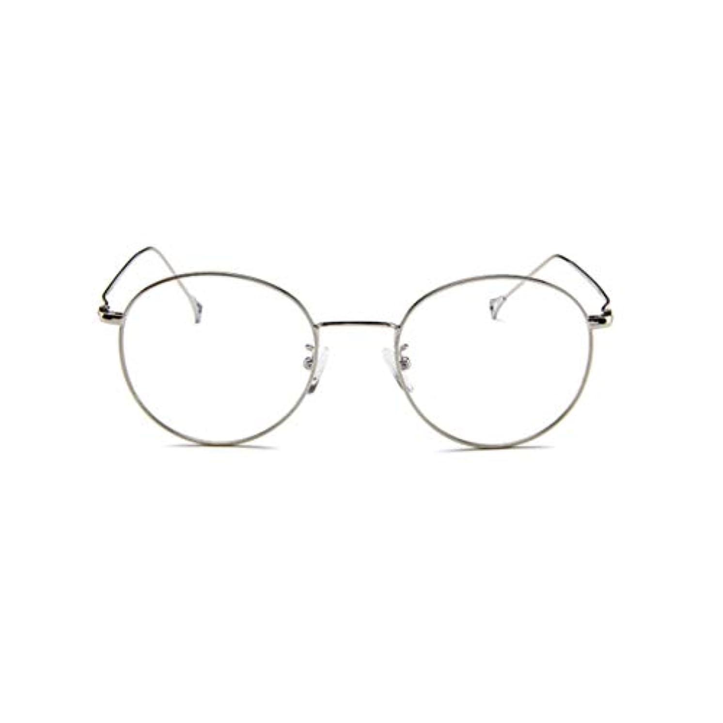 レンダリング上院公式韓国のメガネフレームの男性と女性のレトロフラットメガネメタルトレンディメガネファッション近視メガネフレーム-スライバー