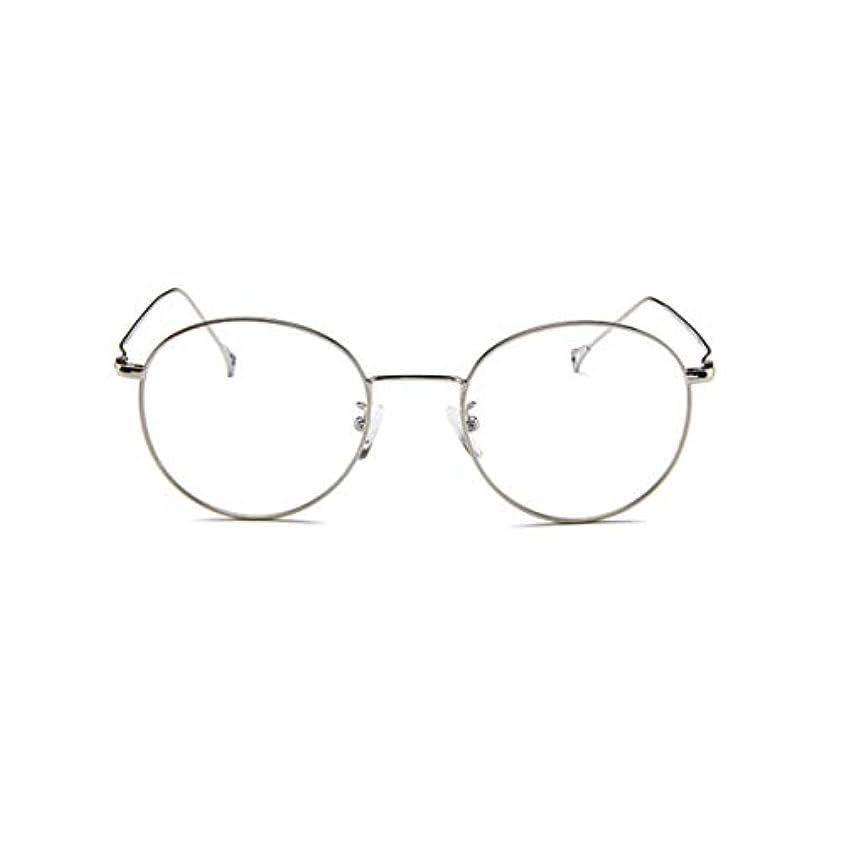 検索エンジンマーケティング意識的強い韓国のメガネフレームの男性と女性のレトロフラットメガネメタルトレンディメガネファッション近視メガネフレーム-スライバー