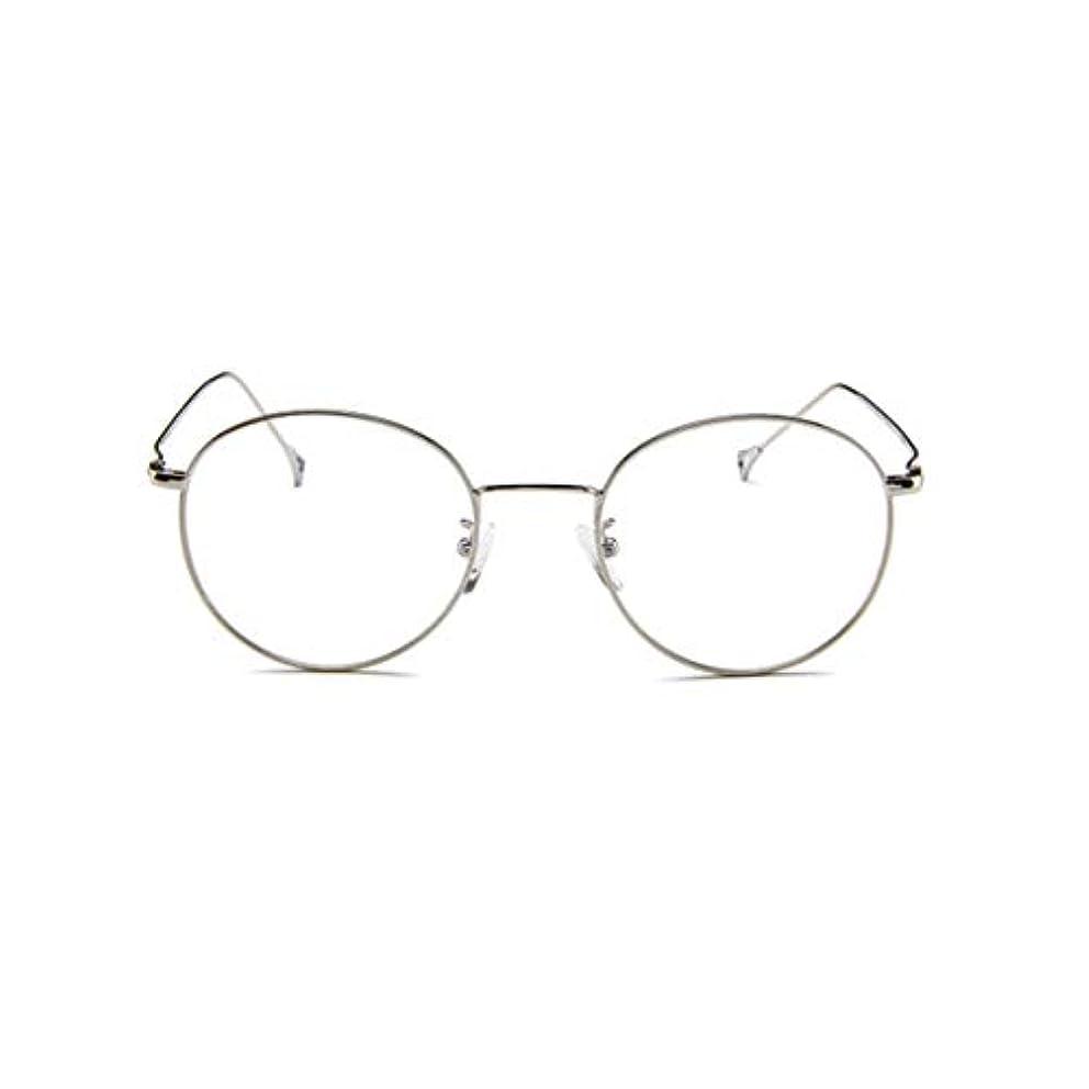 引き金試みる準備する韓国のメガネフレームの男性と女性のレトロフラットメガネメタルトレンディメガネファッション近視メガネフレーム-スライバー