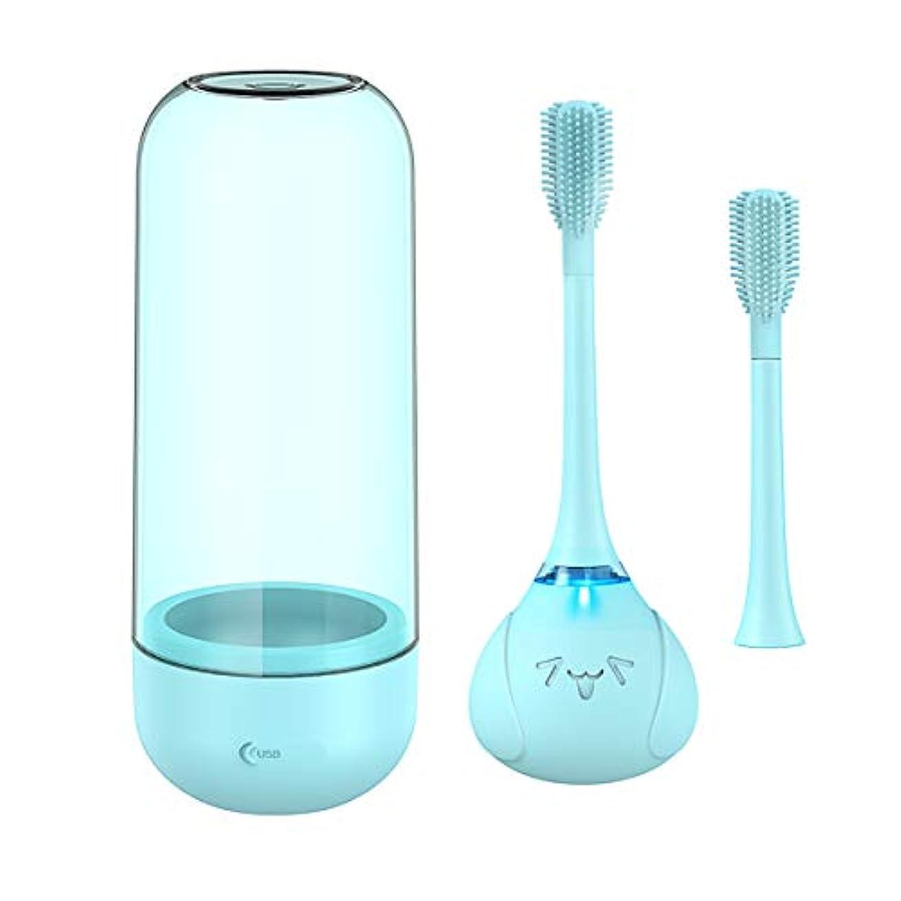 テーマ定義負担Wipalo 電動歯ブラシ 子供用 360度歯ブラシ 歯に優しいシリコンブラシヘッド 可愛い 2分で自動オフ 虫歯予防 安全なワイヤレス充電式 替えブラシ入 IPX7防水 携帯便利 安心な素材 低騒音 新型 (ブルー)