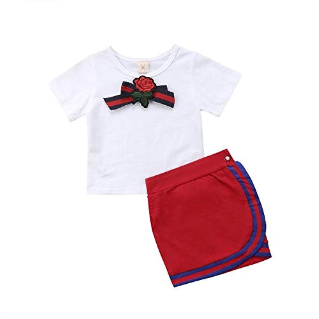 日口商品Onderroa - 女子制服新生児キッズベビー は蝶の花タイのTシャツショートミニスカートパーティーウェディングチュチュドレストップス設定します。