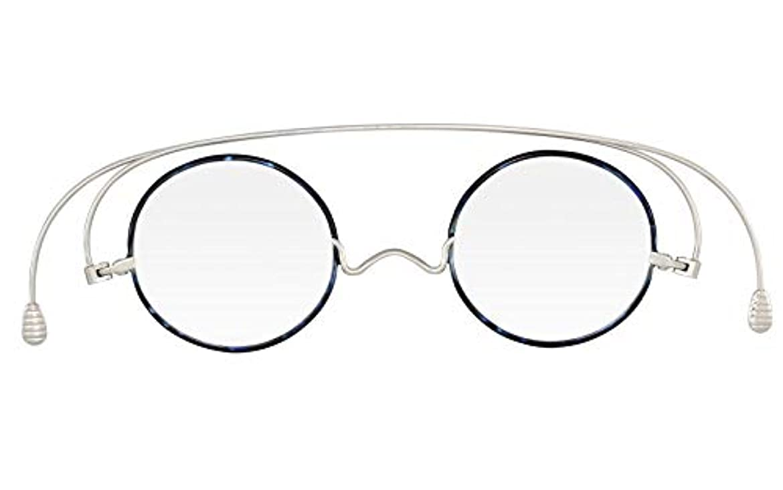 遷移考古学者起こる[薄さ2mmの老眼鏡ペーパーグラス] スタンダードクラシック 七宝「ラウンド」ブルーデミ(+1.00) おしゃれ 携帯用ケース付き 栞(しおり)型リーディンググラス メンズ レディース ギフト 鯖江 1年間保証