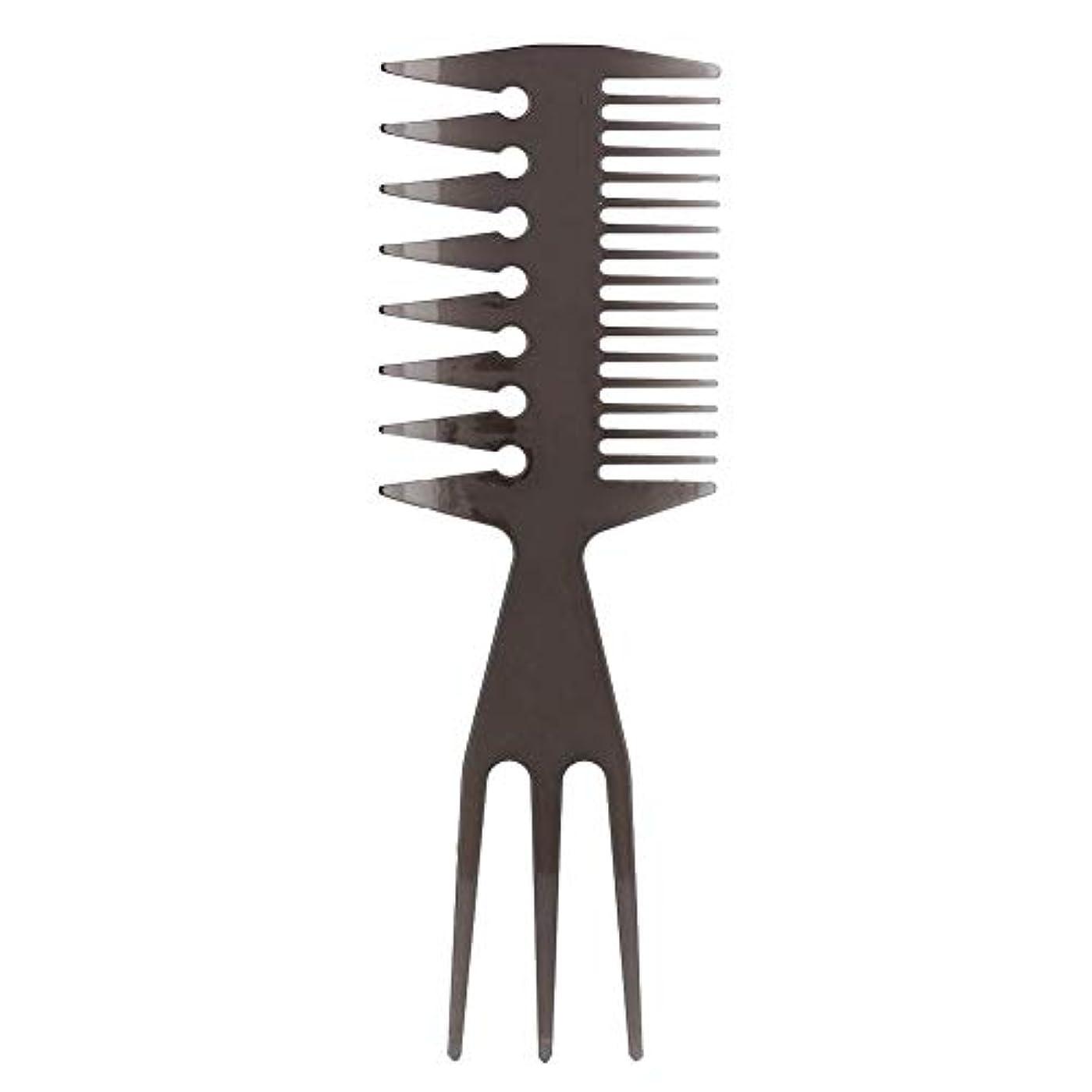 の面ではテロリスト対人メンズオイルヘアポータブルワイドラージトゥースロングハンドルヘアスタイルコームのための三方毛櫛6種類(2#)