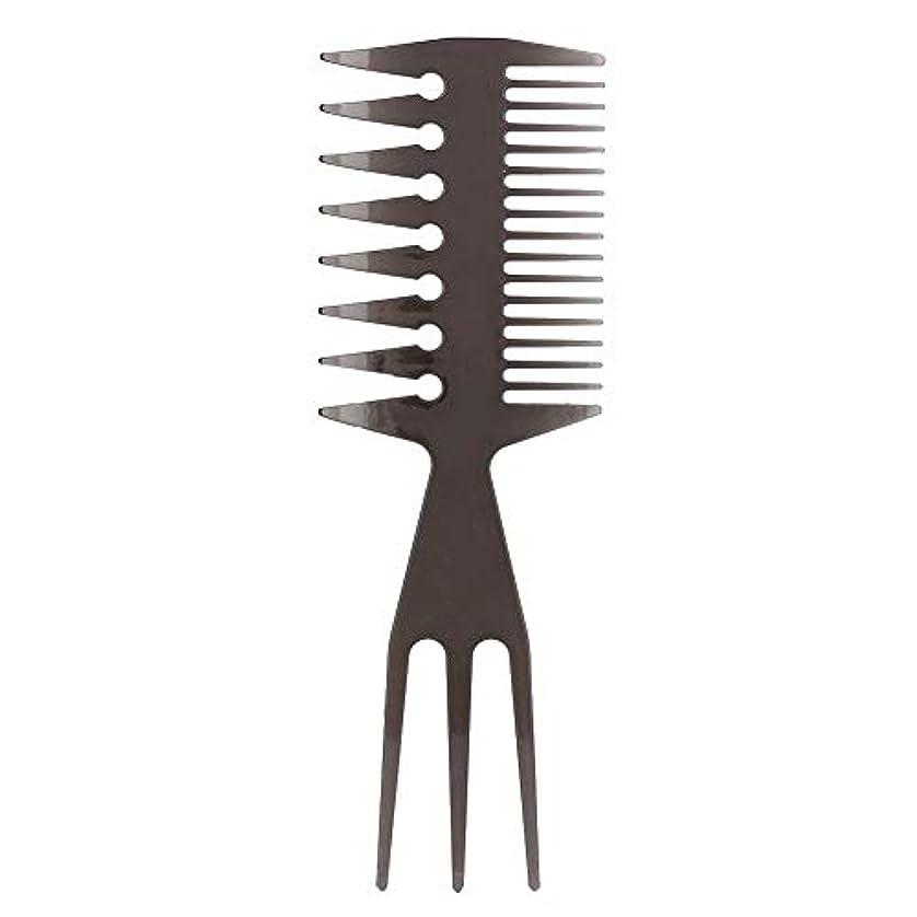 落花生平らなインチ理髪櫛、ポータブルオイルヘッド髪型櫛広い大きな歯ロングハンドル髪型櫛用男性サロン家庭用ツール(2#)